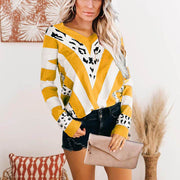 V-neck Striped Leopard Print Top