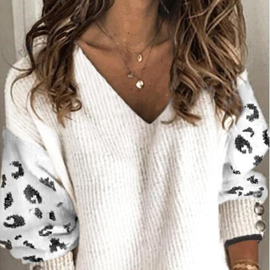 Casual Leopard Block Stitching V-neck Sweater