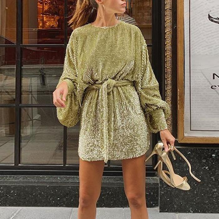 Sexy Round Neck Long Sleeve Mini Dress