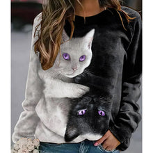 Load image into Gallery viewer, Casual Cat Print Sweatshirt