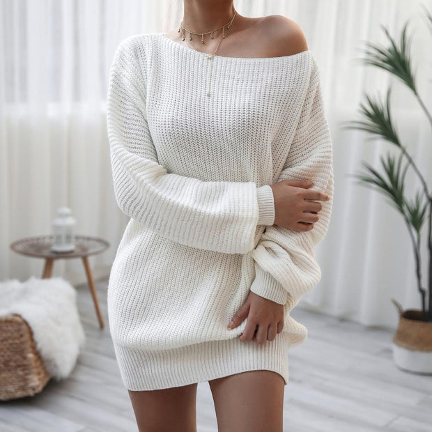 Women Off-shoulder Solid Loose Sweater Tunic Dress