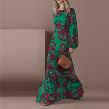 Load image into Gallery viewer, Elegant Green Long-Sleeved Printed Maxi Dress
