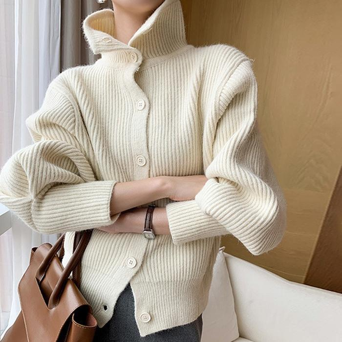 High-Necked Long-Sleeved Buttoned And Thick Knitted Cardigan