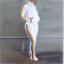 Load image into Gallery viewer, Rainbow stripe side zipper sports suit