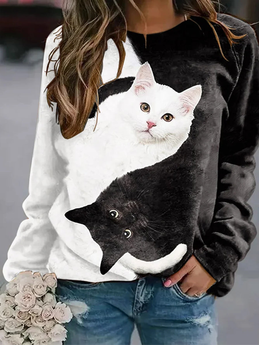 Casual Cat Print Sweatshirt