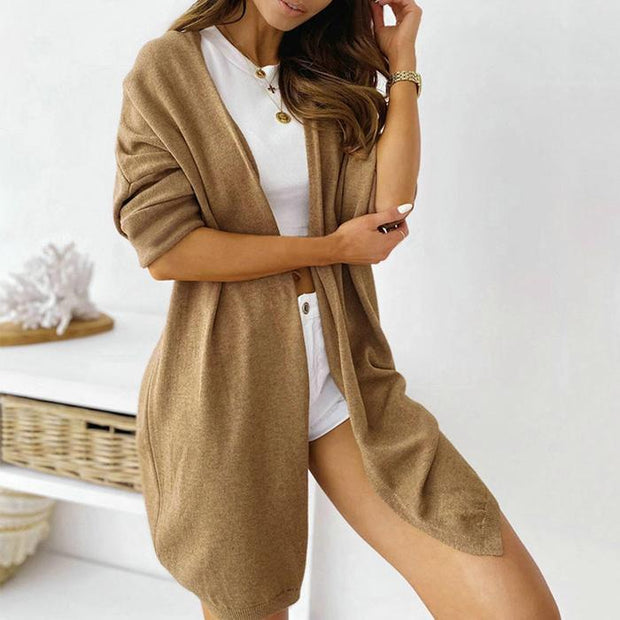 Casual Solid Color Pocket Sweater Cardigan