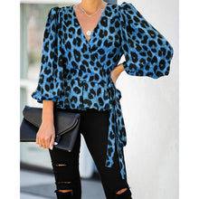 Load image into Gallery viewer, Leopard Cross V-Neck Blouse