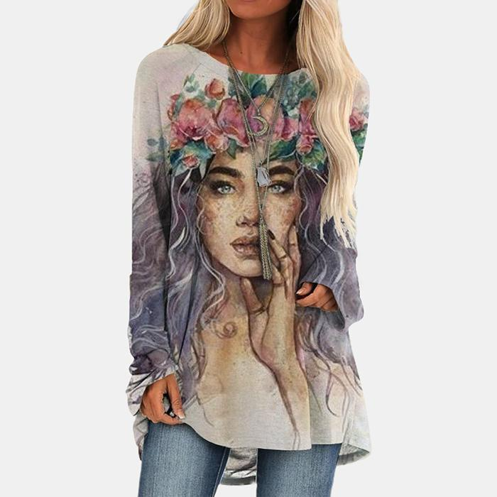 Casual Portrait Print Long Sleeve T-Shirt