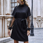 Women Mesh-paneled Solid Dress