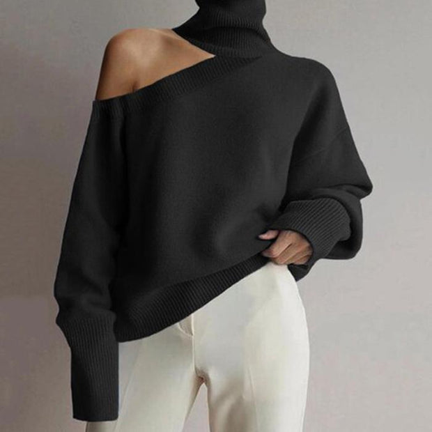 Sexy Off-Shoulder Solid Long-Sleeved Sweater