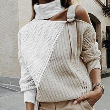Load image into Gallery viewer, Sexy High Neck Off-shoulder Sweater