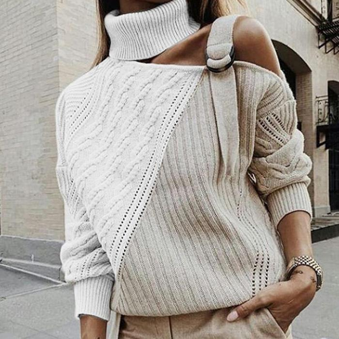 Sexy High Neck Off-shoulder Sweater