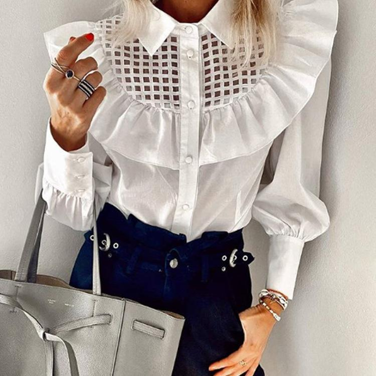 Paneled Hollow-out Ruffled Blouse