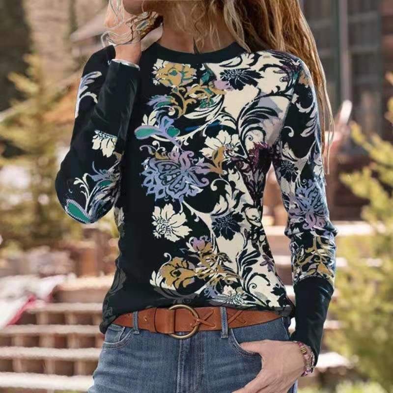 Fashion Floral Print Long Sleeve T-shirt