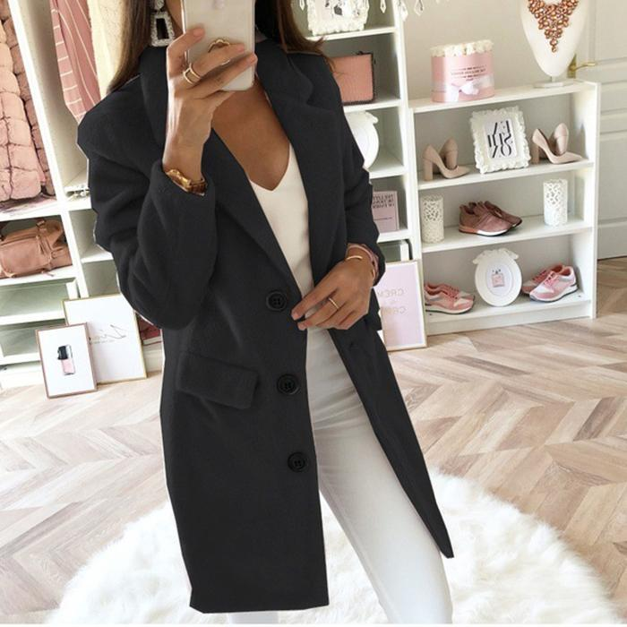 Casual Solid Color Lapel Woolen Coat
