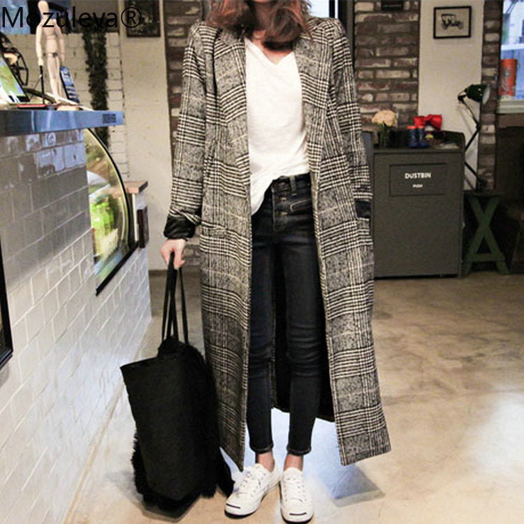 Women long Casual Plaid Coat
