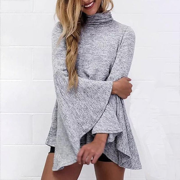 Bell Sleeve Slit Back Tunic Top