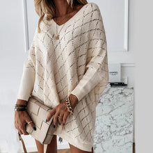 Load image into Gallery viewer, V-Neck Solid Color Cutout Bat Sleeve Loose Knit Sweater