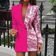 Load image into Gallery viewer, Sequins Colorblock Double Breasted Blazer Dress