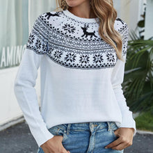 Load image into Gallery viewer, Christmas Snowflake Fawn Pullover Knitted Sweater