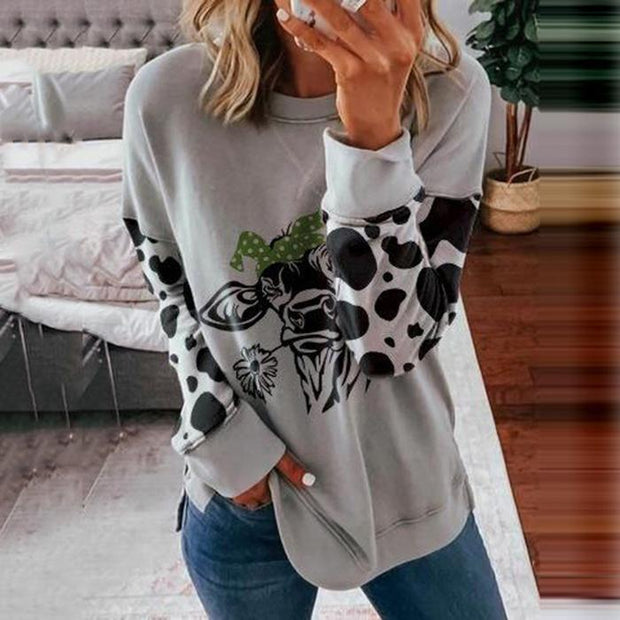 Women Cow Print Casual Sweatshirts