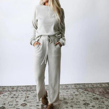 Load image into Gallery viewer, Casual Knitted Solid Color Top and Pants Two-piece Set