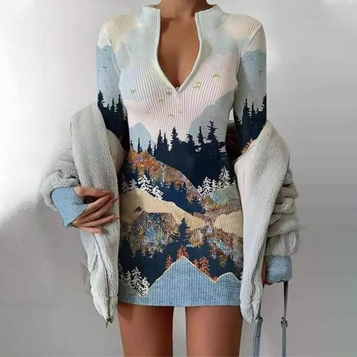 Long Sleeve Zipper Stand Collar Printed Slim Sweater Dress