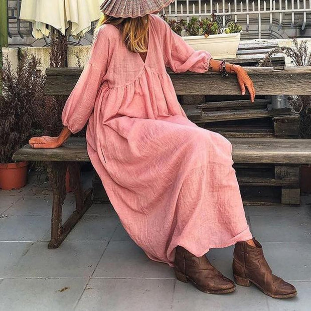 Fashion V-neck Loose Mid-sleeve Casual Dress