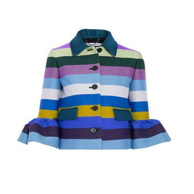 Single-Breasted Long-Sleeve Jacket With Fur Collar And Rainbow Stripe Print