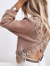 Load image into Gallery viewer, Sexy Round Neck Open Back Lace Long Sleeve Top