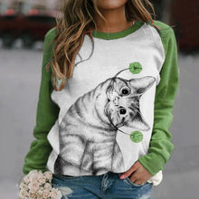 Load image into Gallery viewer, Lovely Lifelike Cat Print Raglan Sleeves Color-block Casual T-shirt