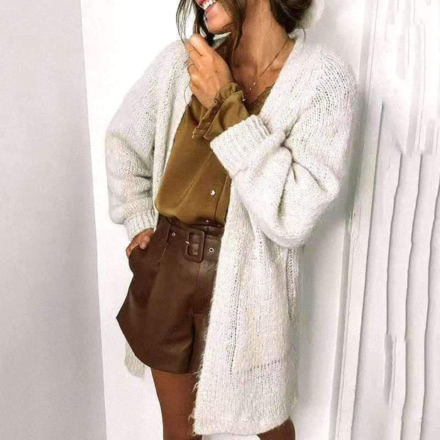 Casual Solid Color Sweater Cardigan