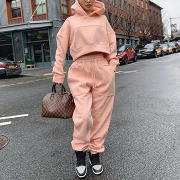 Casual Hooded Solid Sweatershirt Two-piece Set