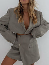 Load image into Gallery viewer, Cardigan One Button Top Buttock Skirt Suit