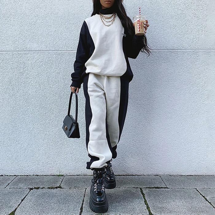 Black and White Stitching Hoodies Casual Pants Sports Suit