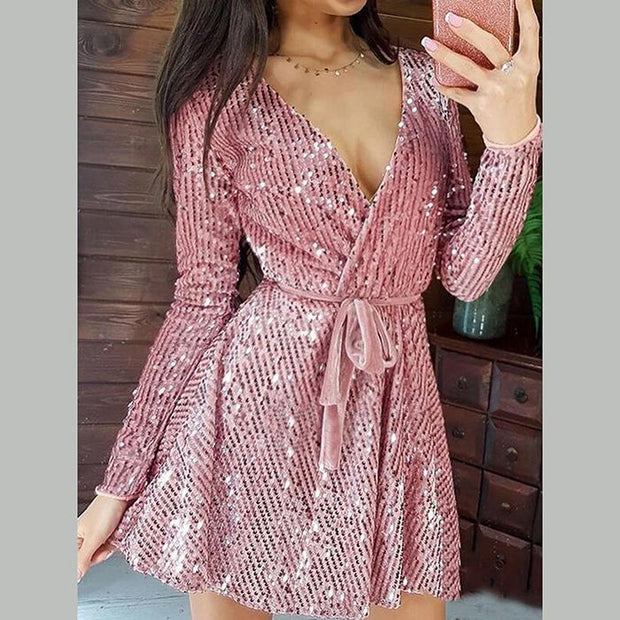 Women Sequins V-Neck Velvet Party Dress