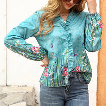 Load image into Gallery viewer, Printed Floral Shirt Ruffle Shirt