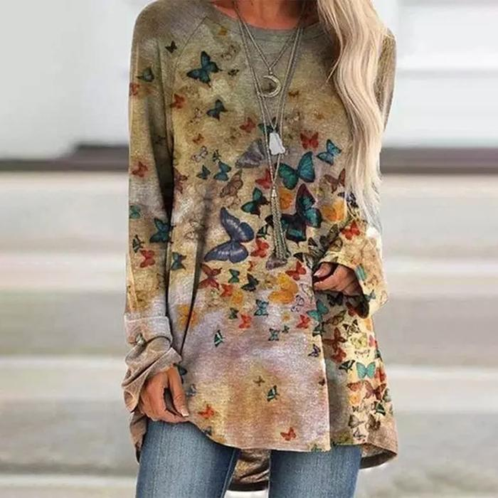 Butterfly Print Casual Crew Neck Ombre Shirts & Tops