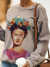 Load image into Gallery viewer, Casual Portrait Print Long-Sleeved Sweatshirt