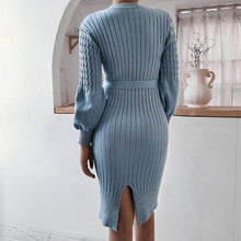 Load image into Gallery viewer, Women Winter Lantern Sleeve Twist Knitted Dress