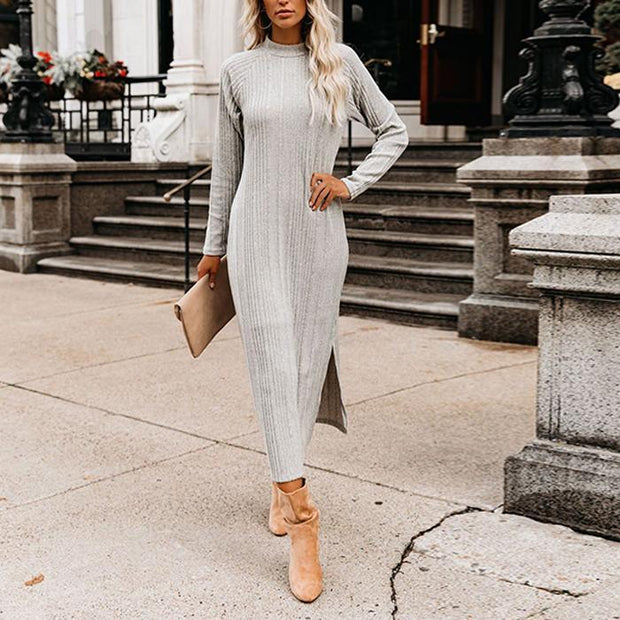 Solid Color Long Sleeve Base Dress