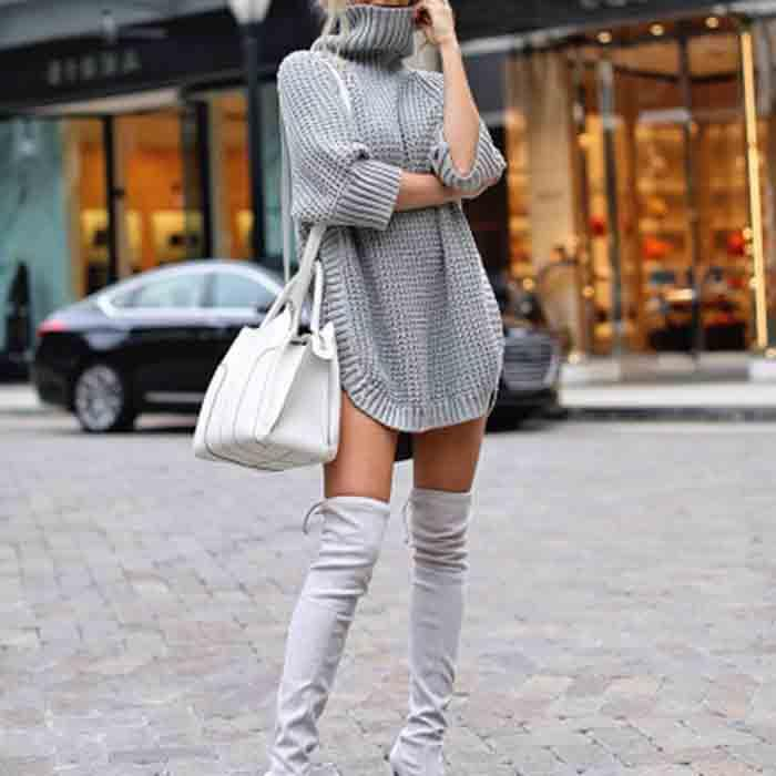 Casual Turtle Neck Solid Color Sweater Dress