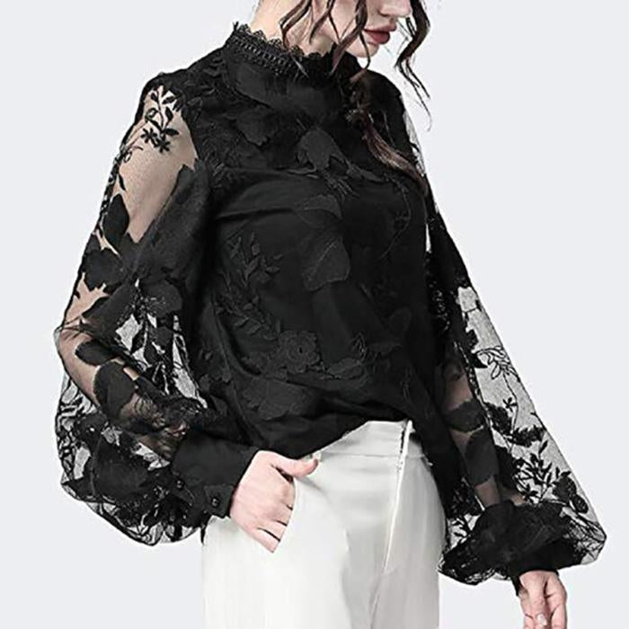 Lace Puff Sleeve Transparent Round Neck Blouse