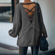 Round Neck Feature Open Back Cross Loose Sweater