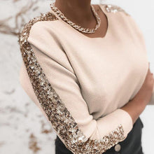 Load image into Gallery viewer, Sequins Long Sleeve Knit Sweater