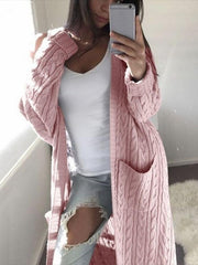 Casual Double Pocket Twist Sweater Cardigan