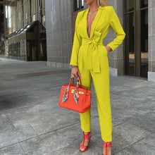 Load image into Gallery viewer, Women Deep V-neck Tie Design Fashion Jumpsuits