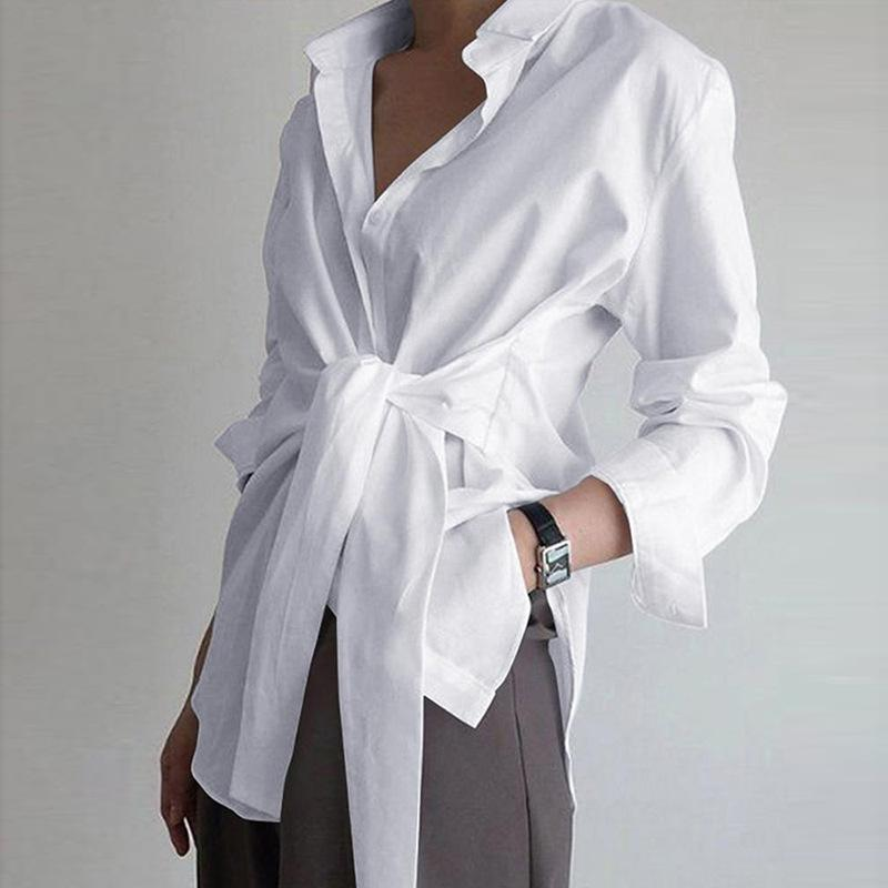 Solid Color Loose Tie Blouse