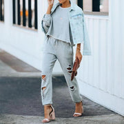 Casual Solid Color Ripped Sweatshirt Pants Two-piece Set