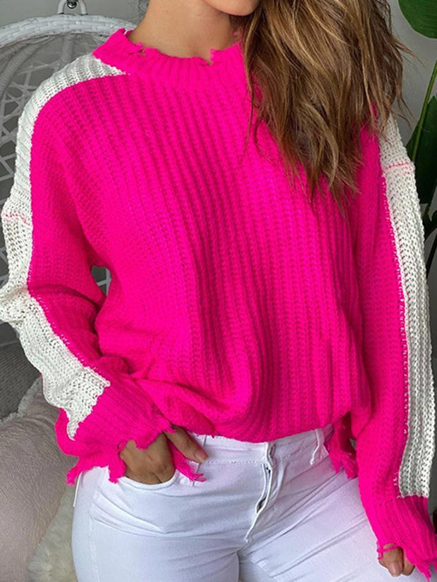 Loose sleeves white striped color-block sweater